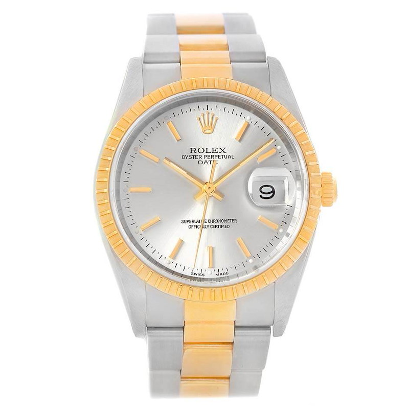 Rolex Date Steel Yellow Gold Silver Dial Mens Watch 15223 SwissWatchExpo