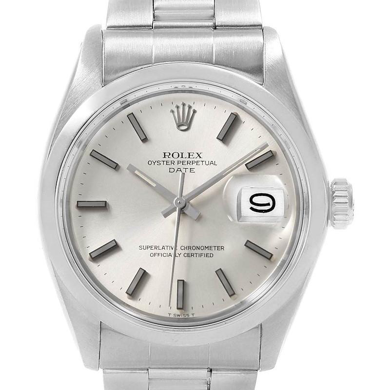 Rolex Date Silver Dial Oyster Bracelet Steel Vintage Mens Watch 1500 SwissWatchExpo