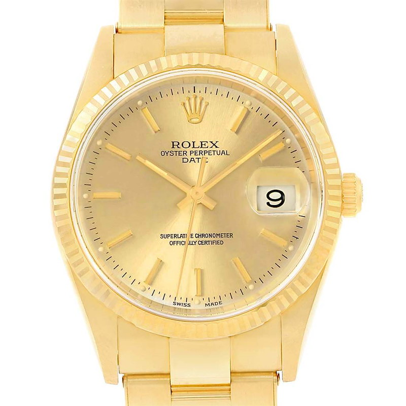 Rolex Date Yellow Gold Oyster Bracelet Mens Watch 15238 SwissWatchExpo