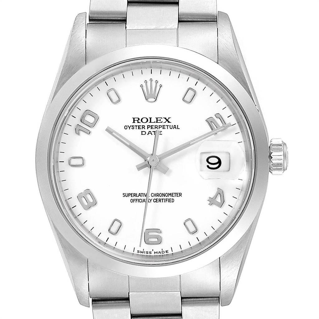 Rolex Date White Arabic Dial Oyster Bracelet Steel Mens Watch 15200 Box