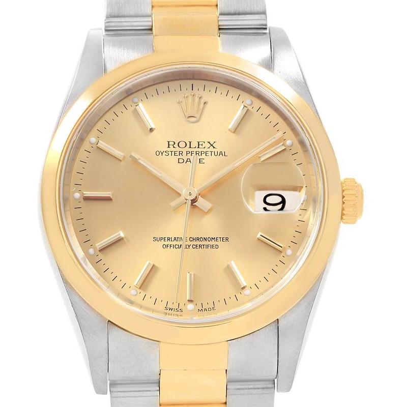 Rolex Date Steel Yellow Gold Baton Dial Mens Watch 15203 Box SwissWatchExpo