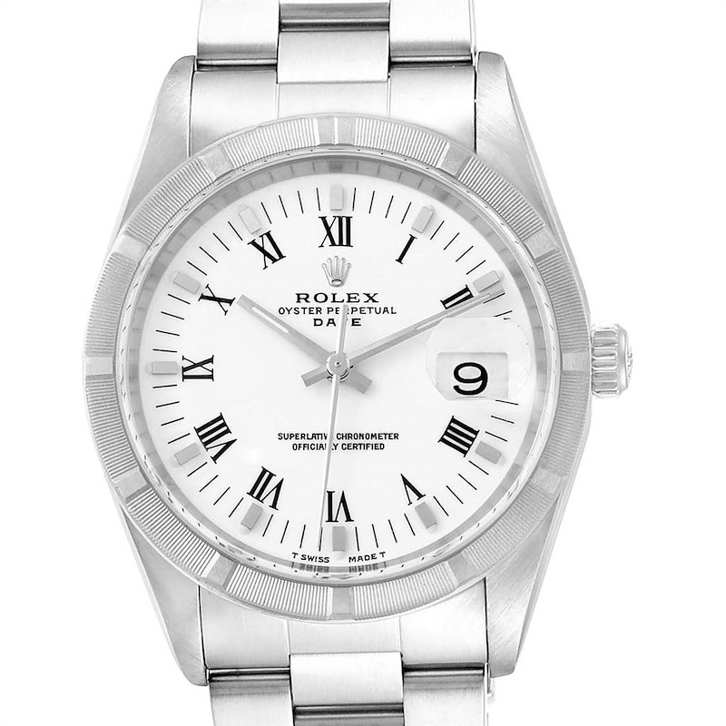 Rolex Date White Dial Oyster Bracelet Steel Mens Watch 15210 SwissWatchExpo