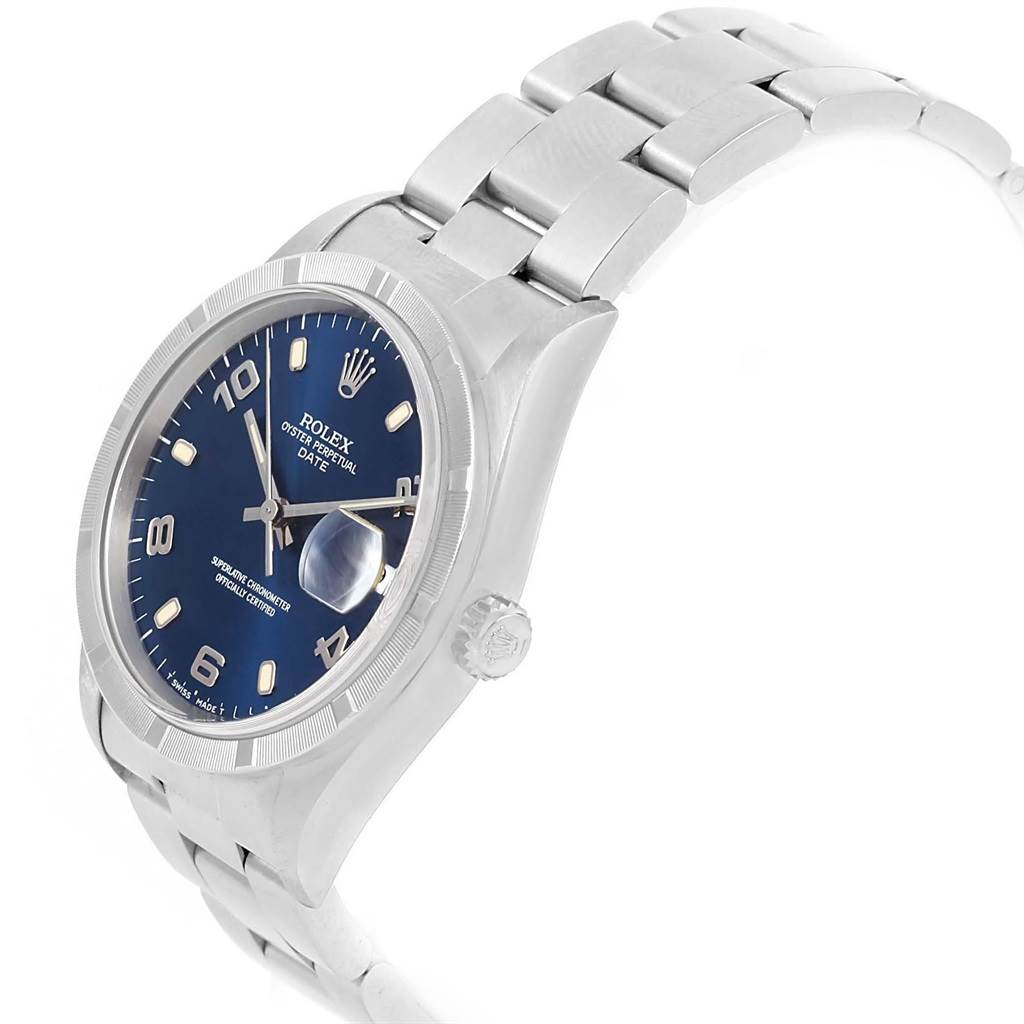 18330A Rolex Date Silver Baton Dial Oyster Bracelet Mens Watch 15210 SwissWatchExpo