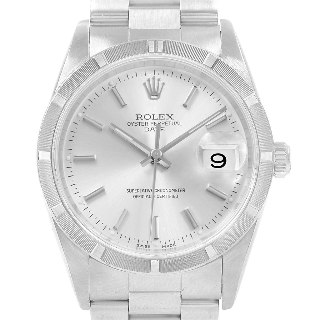 20743 Rolex Date Silver Dial Oyster Bracelet Steel Mens Watch 15210 SwissWatchExpo