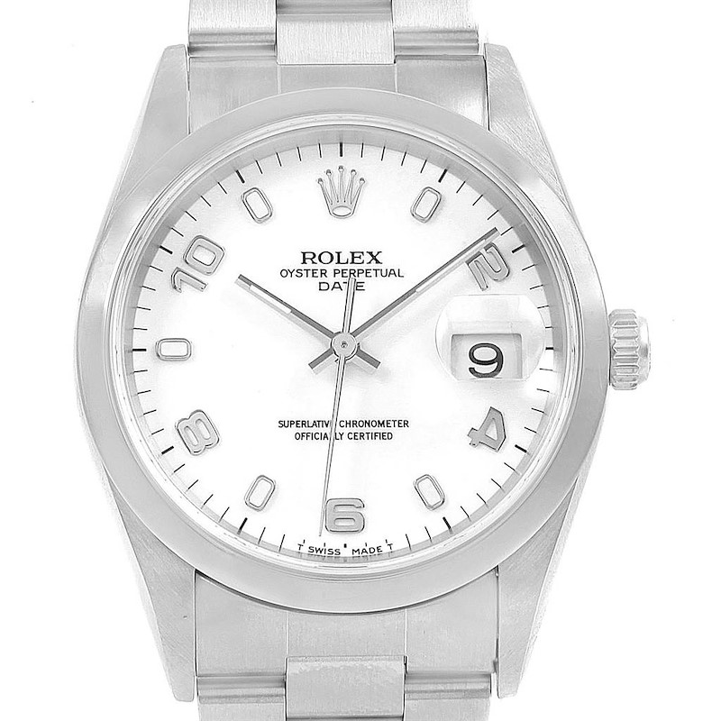 Rolex Date White Arabic Dial Smooth Bezel Steel Mens Watch 15200 Box SwissWatchExpo