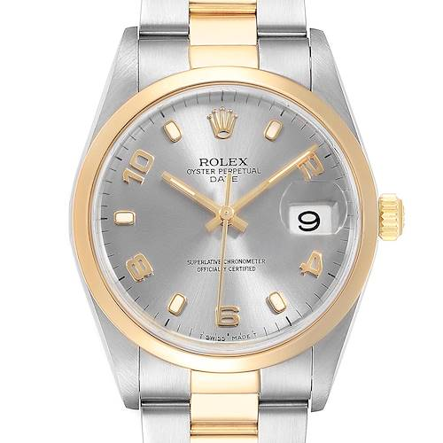 Photo of Rolex Date Mens Steel Yellow Gold Slate Dial Mens Watch 15203 Box