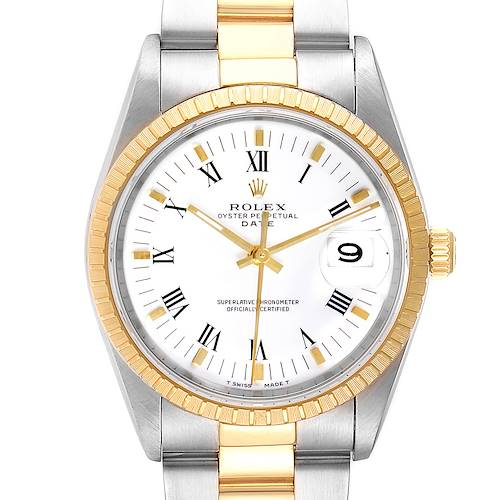 Photo of Rolex Date Mens Steel 18k Yellow Gold White Dial Mens Watch 15223
