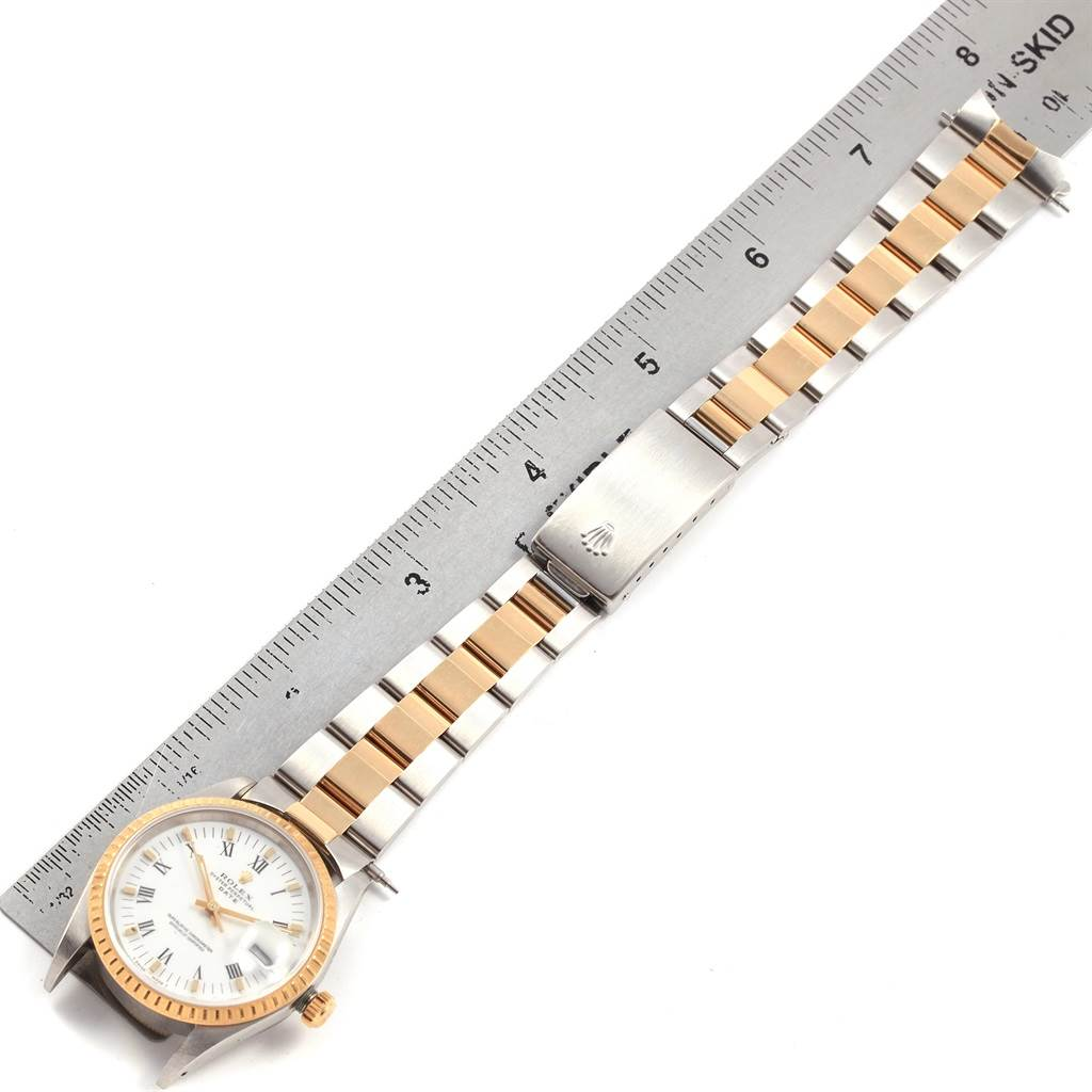 21202 Rolex Date Mens Steel 18k Yellow Gold White Dial Mens Watch 15223 SwissWatchExpo