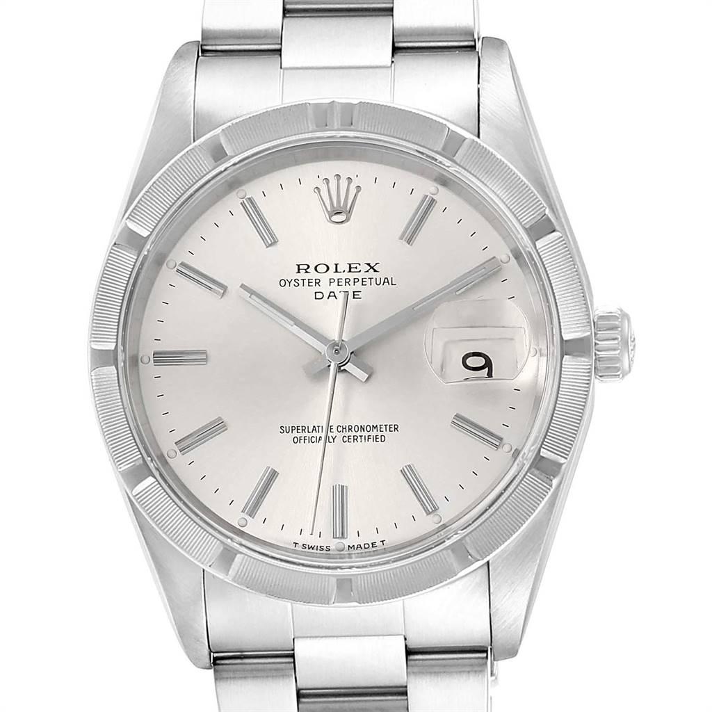 Rolex Date Silver Dial Oyster Bracelet Steel Mens Watch 15210 SwissWatchExpo