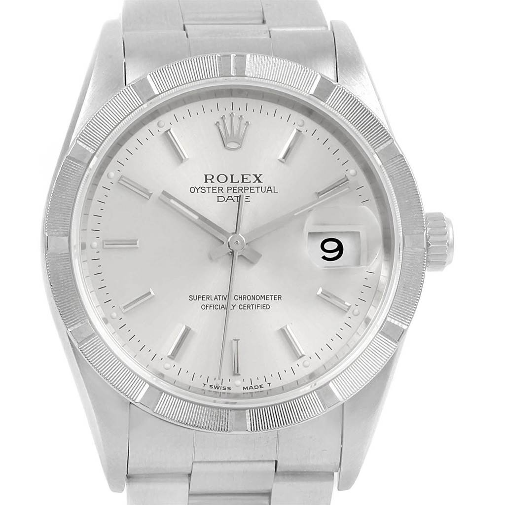 20732X Rolex Date Silver Dial Engine Turned Bezel Steel Mens Watch 15210 SwissWatchExpo