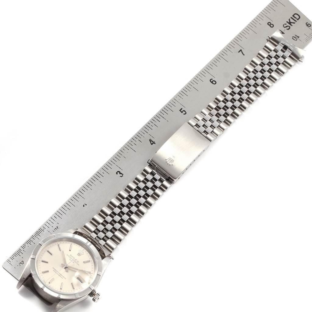 Rolex Date Silver Baton Dial Jubilee Bracelet Mens Watch 15210 SwissWatchExpo
