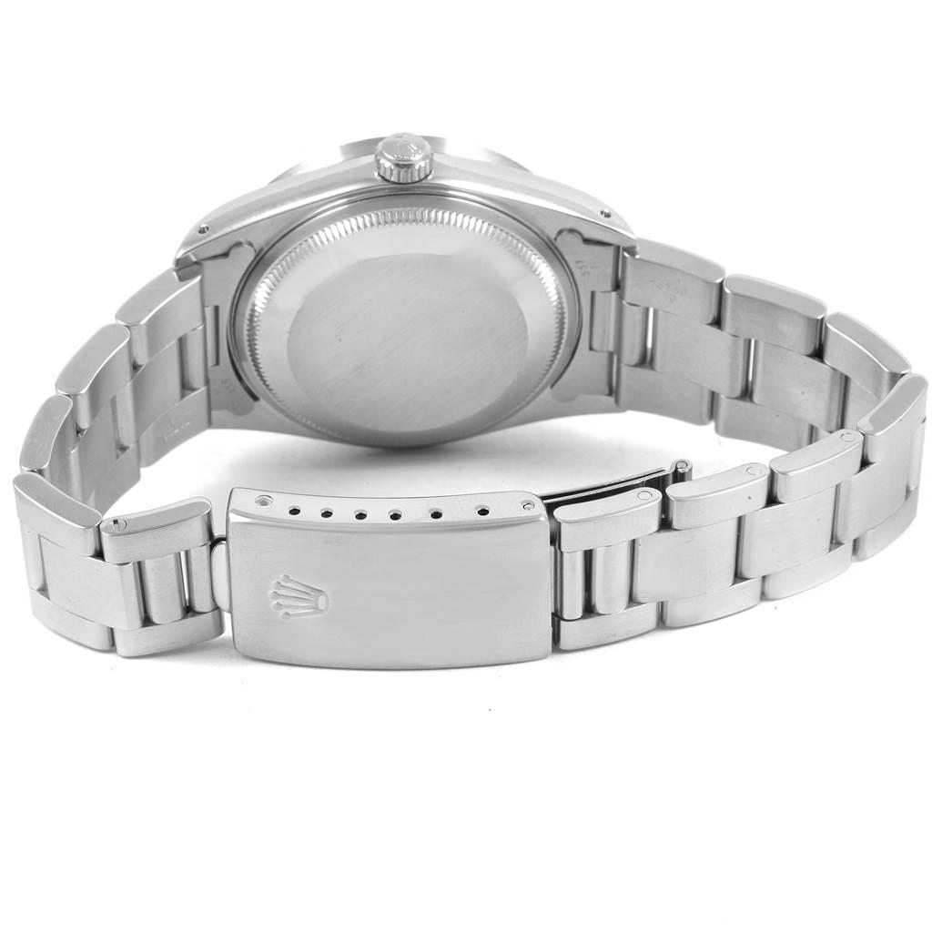 Rolex Date Silver Dial Engine Turned Bezel Mens Watch 15210 Box SwissWatchExpo
