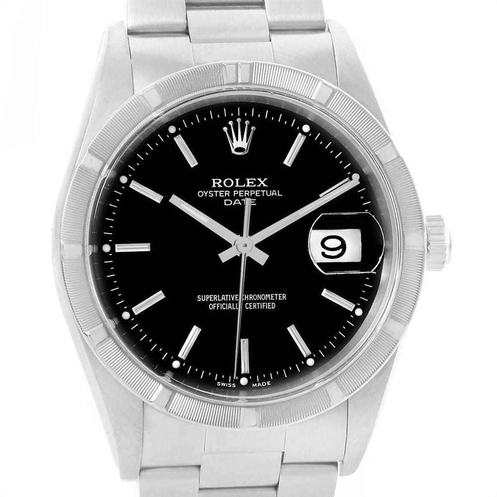 21685 Rolex Date Black Dial Steel Mens Watch 15210 Box Papers SwissWatchExpo