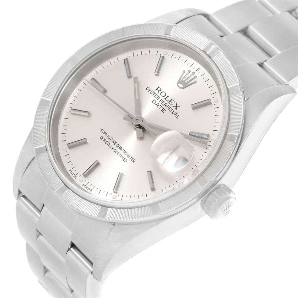 Rolex Date Silver Dial Engine Turned Bezel Mens Watch 15210 Box Papers SwissWatchExpo