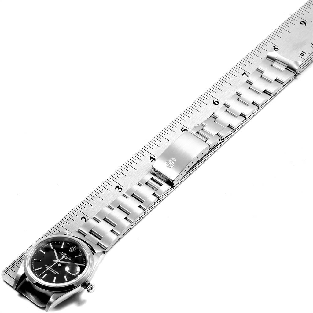 21491 Rolex Date Black Dial Oyster Bracelt Steel Mens Watch 15200 SwissWatchExpo