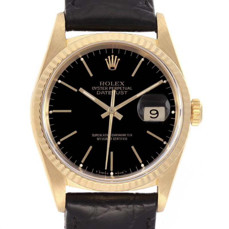 Rolex Date 18k Yellow Gold Black Dial Automatic Mens Watch 16238 SwissWatchExpo