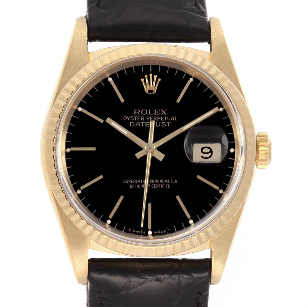 21998 Rolex Date 18k Yellow Gold Black Dial Automatic Mens Watch 16238 SwissWatchExpo