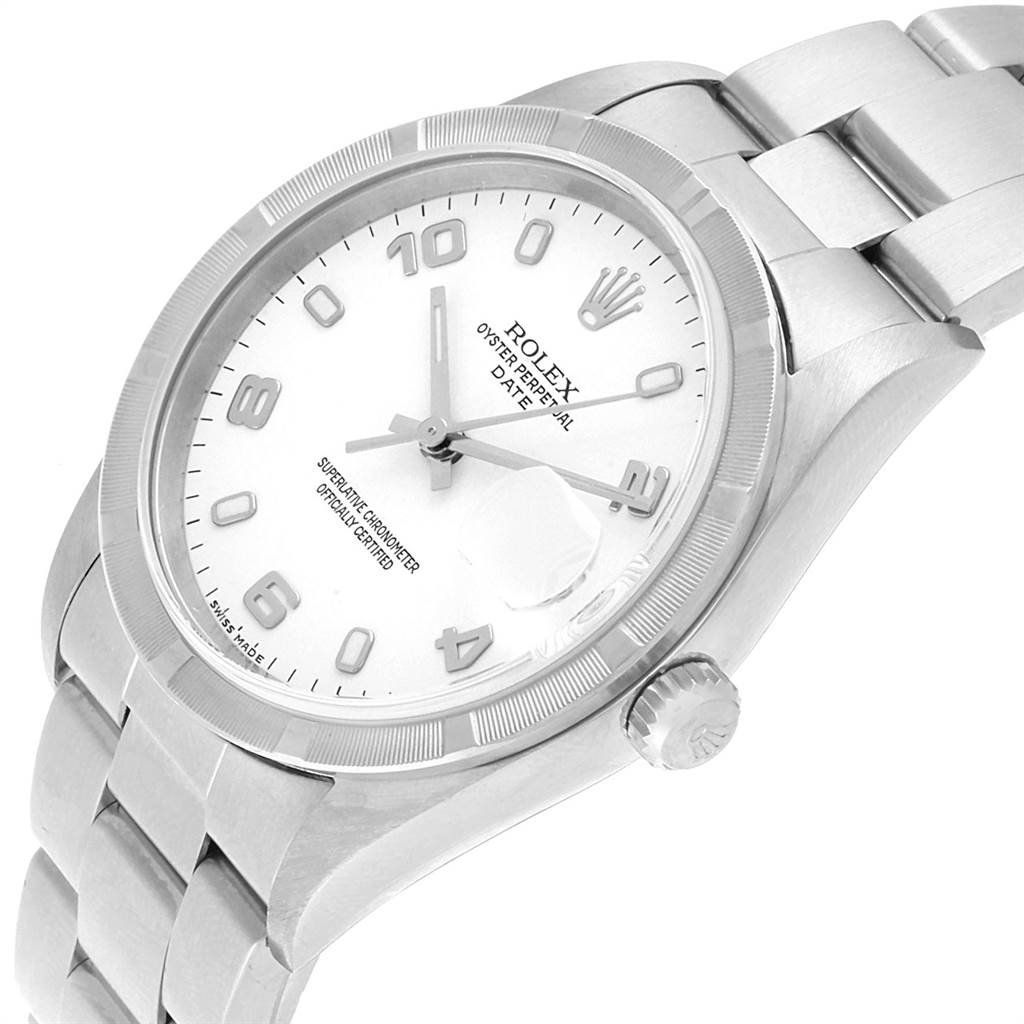 Rolex Date White Dial Oyster Bracelet Steel Mens Watch 15210 SwissWatchExpo