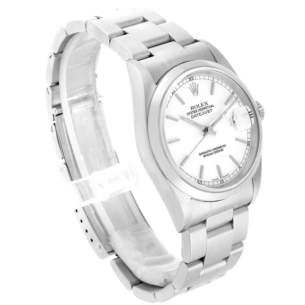 Rolex Datejust White Dial Steel Mens Watch 16200 Box Papers SwissWatchExpo