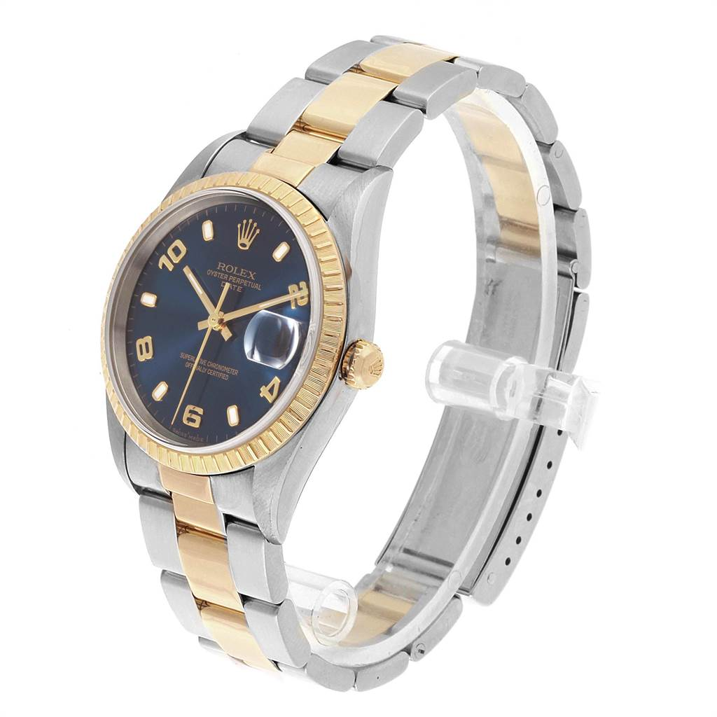 Rolex Date Yellow Gold Steel Blue Dial Mens Watch 15223 Box Papers SwissWatchExpo