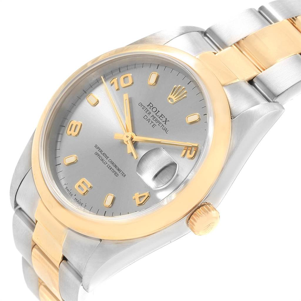22101 Rolex Date Mens Steel Yellow Gold Slate Dial Mens Watch 15203 Box SwissWatchExpo