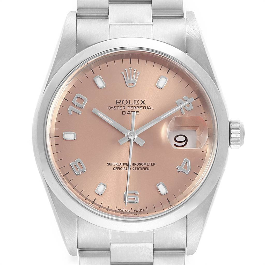 Rolex Date Salmon Dial Smooth Bezel Steel Mens Watch 15200 Box SwissWatchExpo