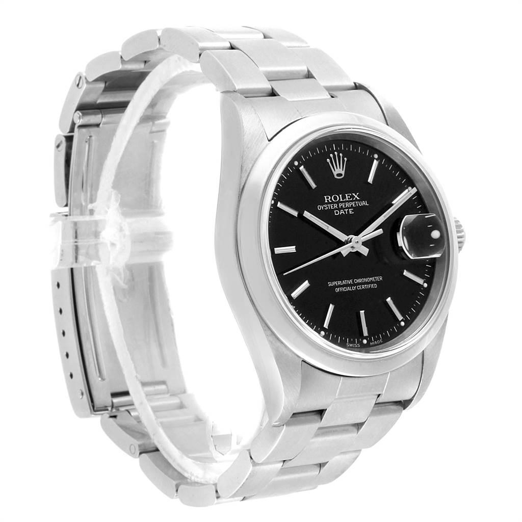 22360 Rolex Date Black Dial Oyster Bracelt Steel Mens Watch 15200 SwissWatchExpo