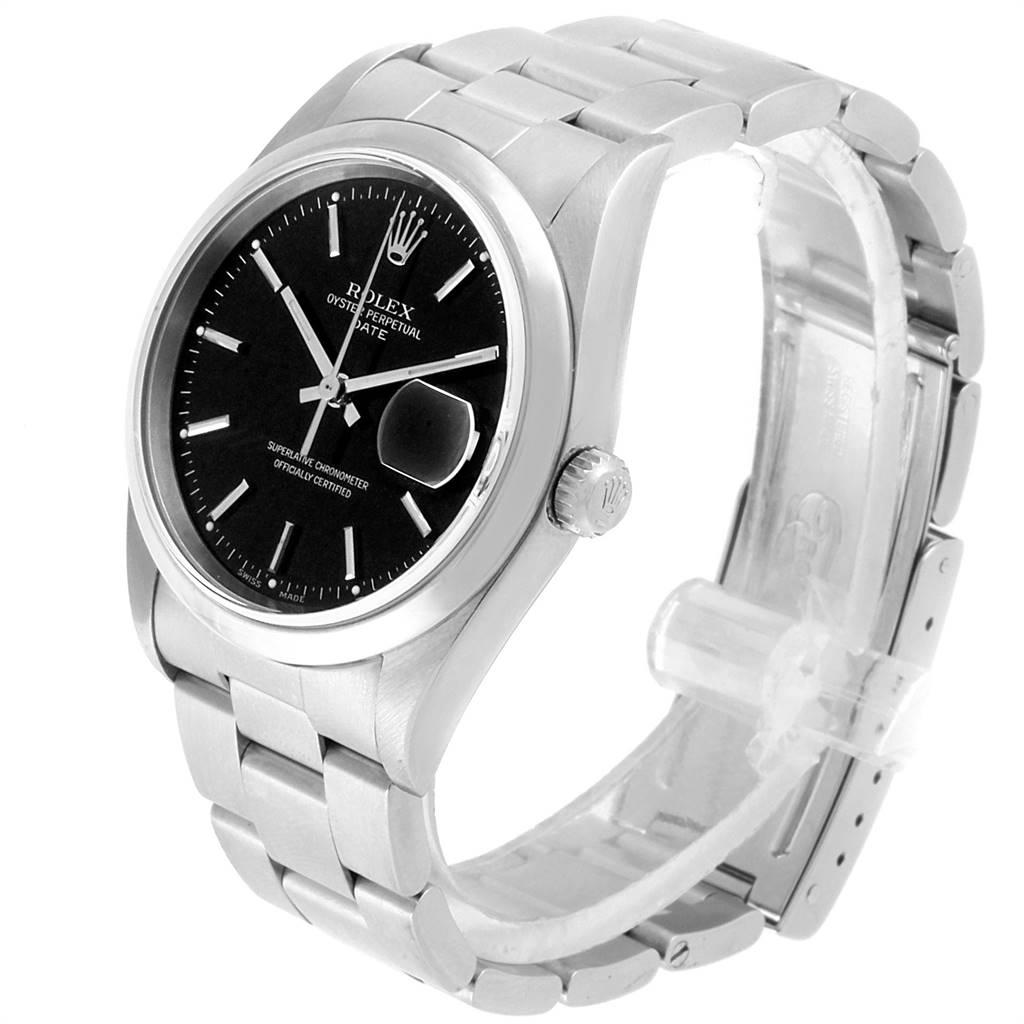 Rolex Date Black Dial Oyster Bracelt Steel Mens Watch 15200 SwissWatchExpo