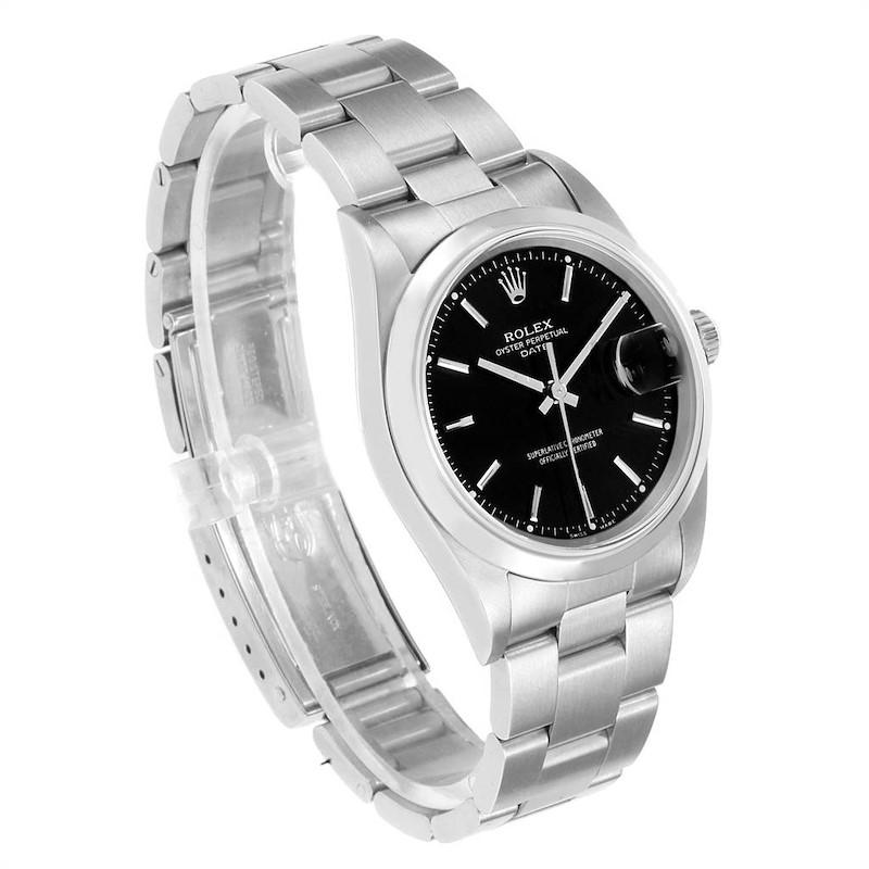 Rolex Date Black Dial Domed Bezel Steel Mens Watch 15200 SwissWatchExpo