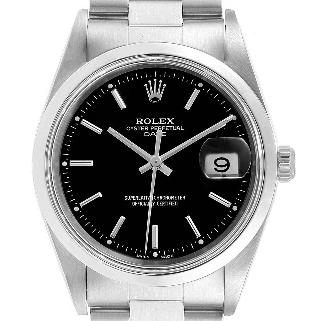 22359 Rolex Date Black Dial Domed Bezel Steel Mens Watch 15200 SwissWatchExpo