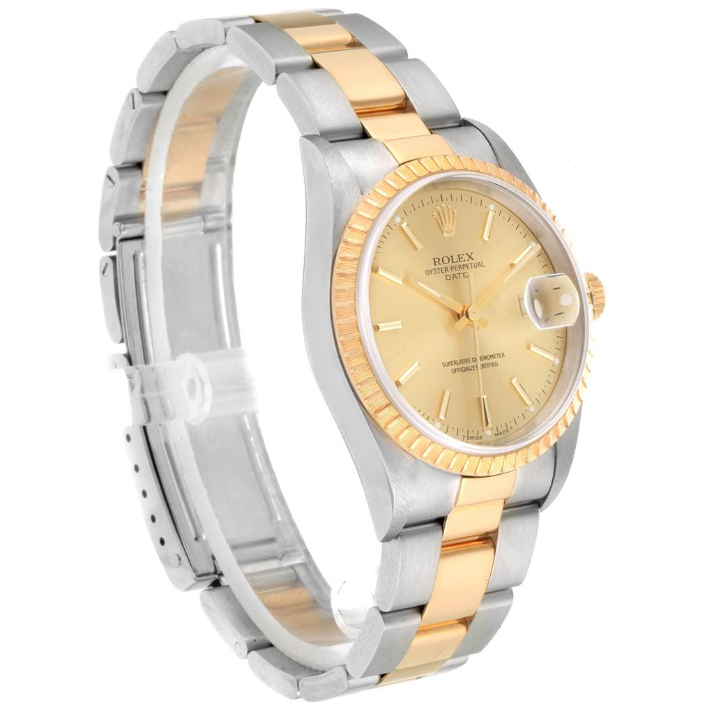 22898 Rolex Date Mens Steel Yellow Gold Mens Watch 15223 Box Papers SwissWatchExpo