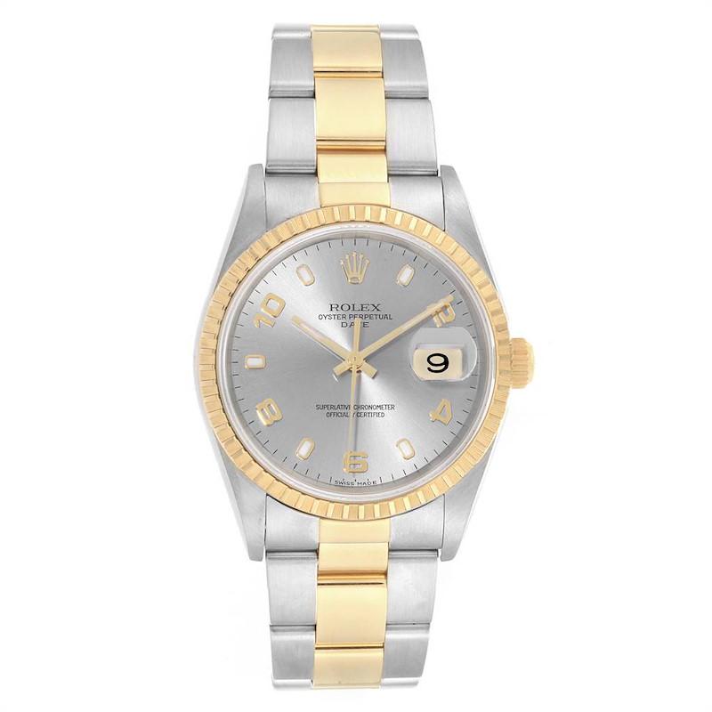 Rolex Date Steel Yellow Gold Slate Dial Mens Watch 15223 SwissWatchExpo