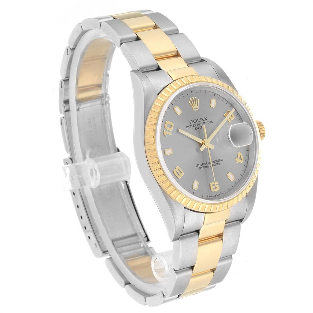 Rolex Date Steel Yellow Gold Slate Dial Mens Watch 15223 SwissWatchExpo