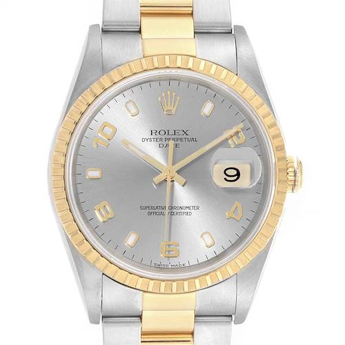 Photo of Rolex Date Steel Yellow Gold Slate Dial Mens Watch 15223