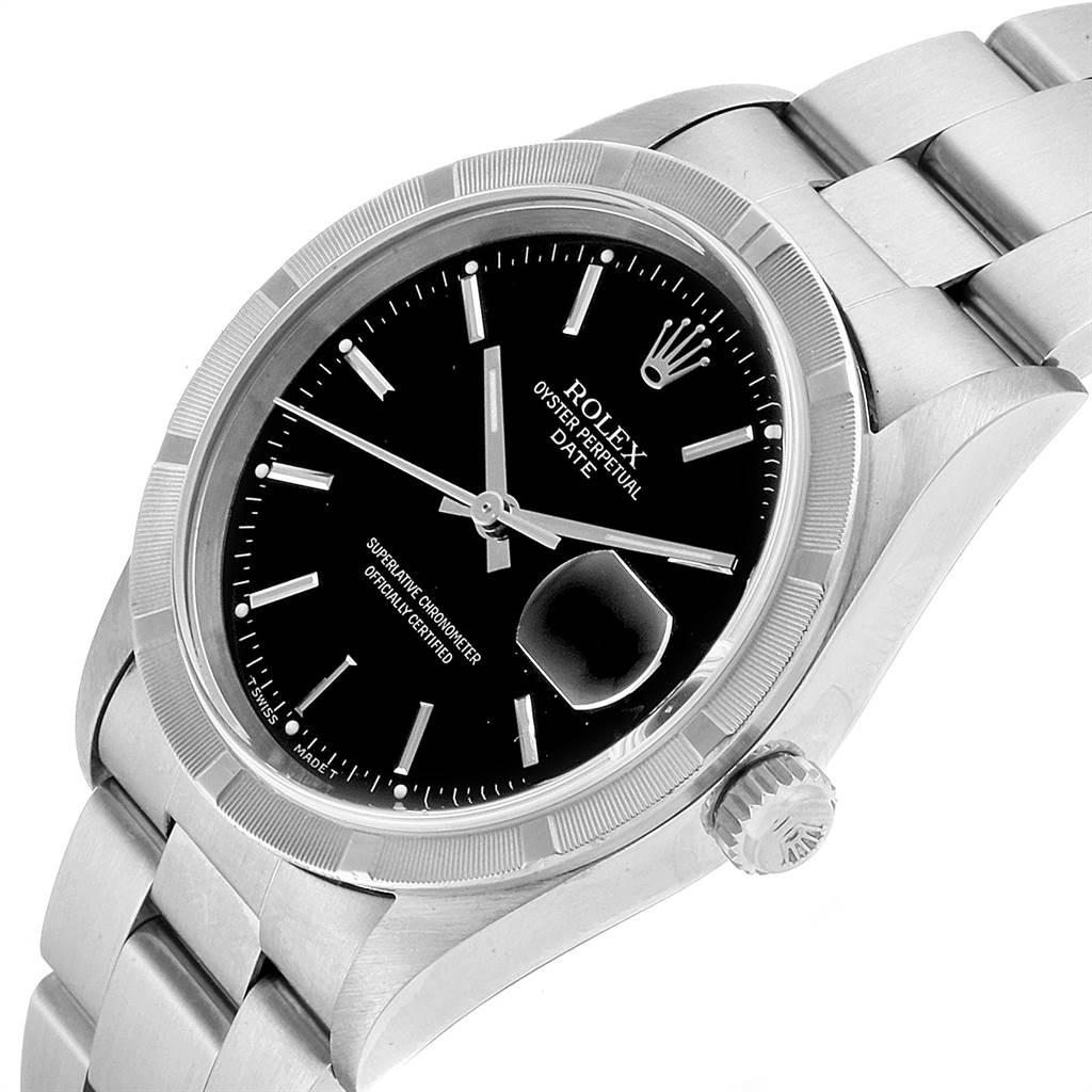 22808 Rolex Date Black Dial Oyster Bracelet Steel Mens Watch 15210 SwissWatchExpo