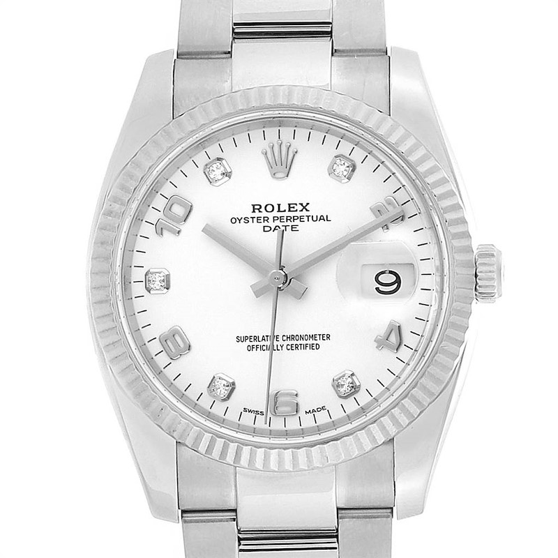 Rolex Date 36 Steel White Gold Diamond Dial Mens Watch 115234 Box Card SwissWatchExpo