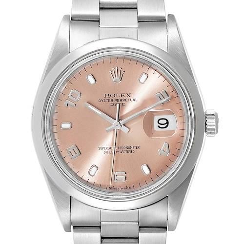 Photo of Rolex Date Salmon Dial Domed Bezel Steel Mens Watch 15200