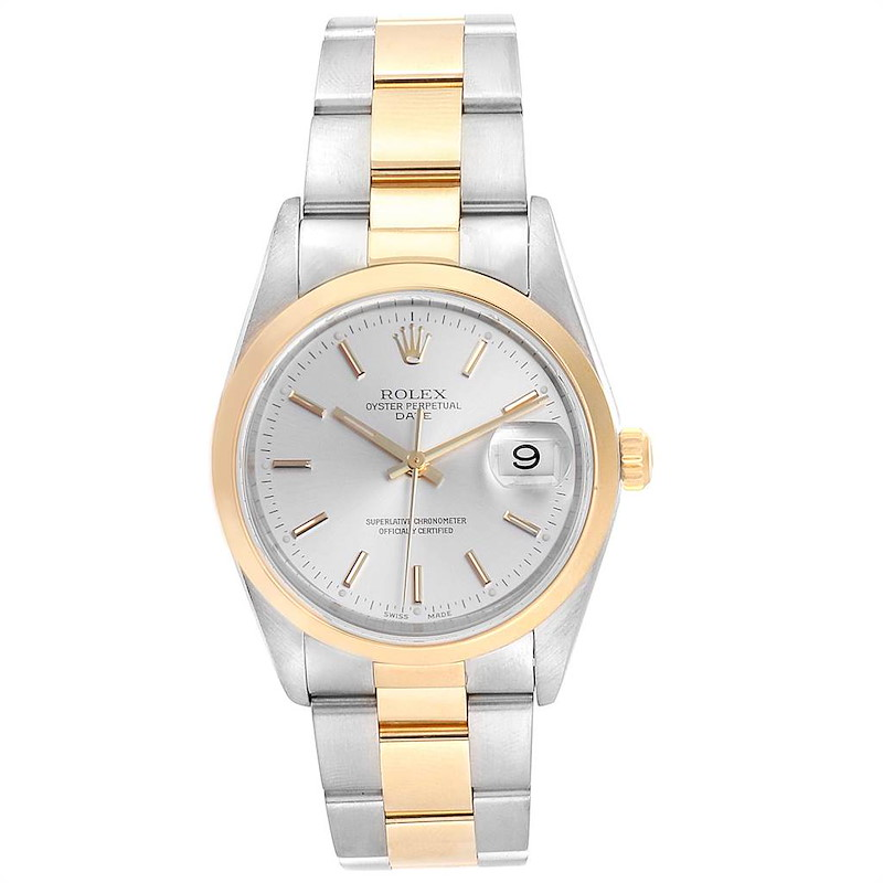 Rolex Date Steel Yellow Gold Silver Dial Mens Watch 15203 Box SwissWatchExpo