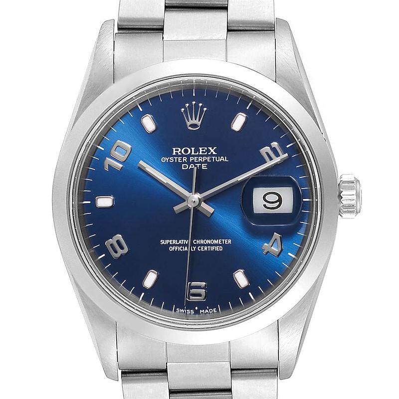 Rolex Date Blue Dial Domed Bezel Steel Mens Watch 15200 Box Papers SwissWatchExpo