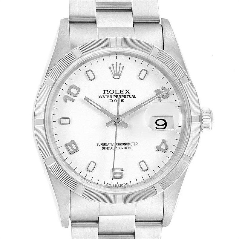 Rolex Date White Dial Automatic Steel Mens Watch 15210 Box Papers SwissWatchExpo