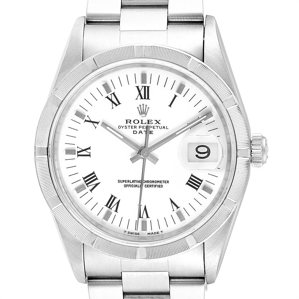 23854 Rolex Date White Dial Oyster Bracelet Steel Mens Watch 15210 Box Papers SwissWatchExpo