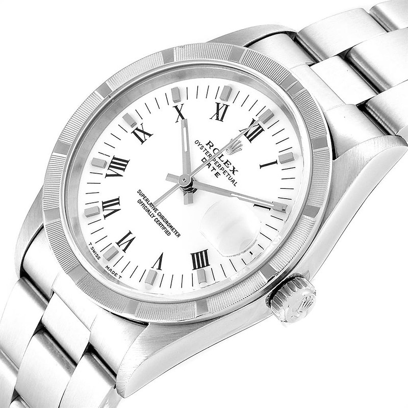 Rolex Date White Dial Oyster Bracelet Steel Mens Watch 15210 Box Papers SwissWatchExpo