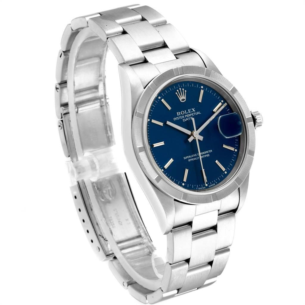 23991 Rolex Date Blue Dial Oyster Bracelet Steel Mens Watch 15210 SwissWatchExpo
