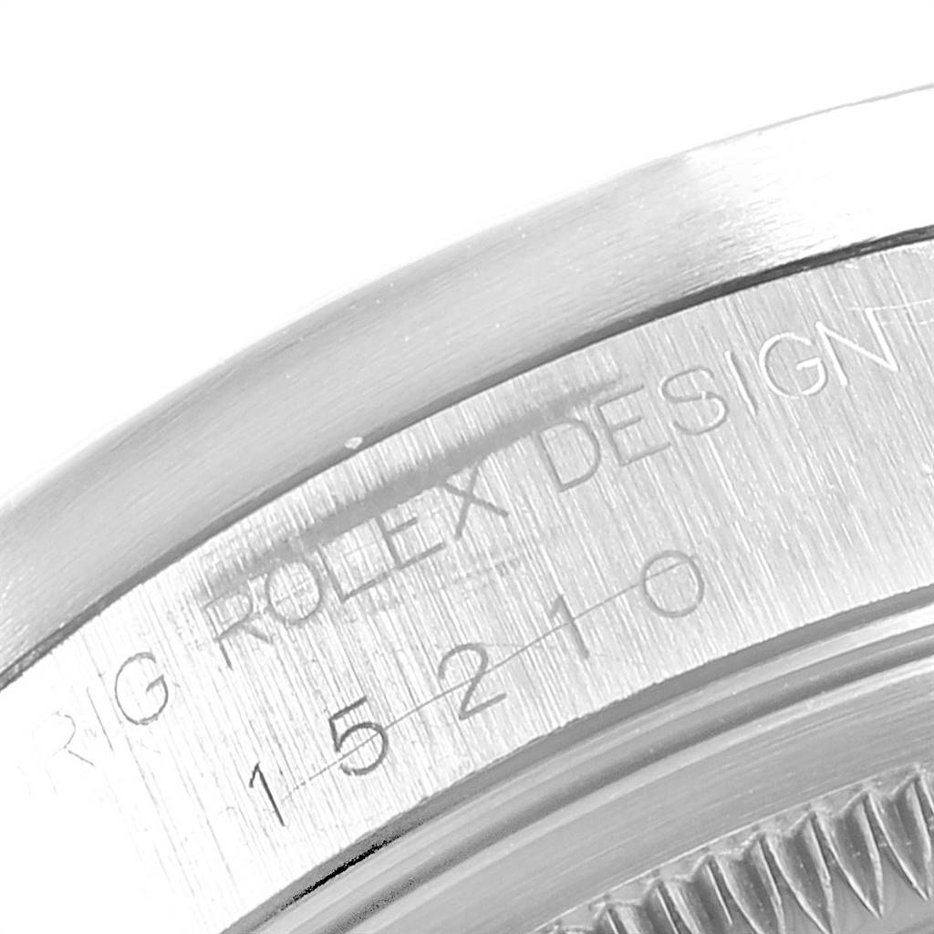 Rolex Date Black Dial Oyster Bracelet Steel Mens Watch 15210 SwissWatchExpo