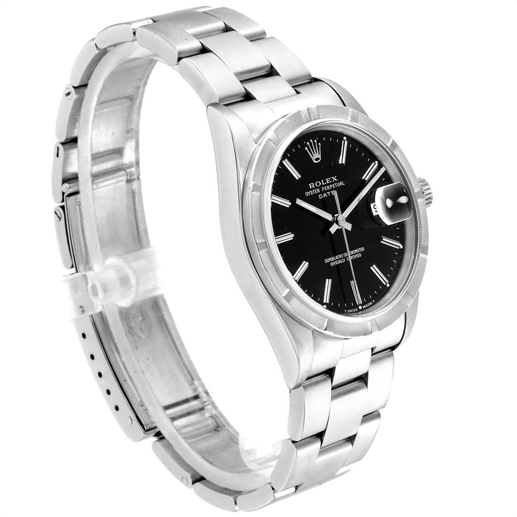 24089 Rolex Date Black Dial Oyster Bracelet Steel Mens Watch 15210 SwissWatchExpo