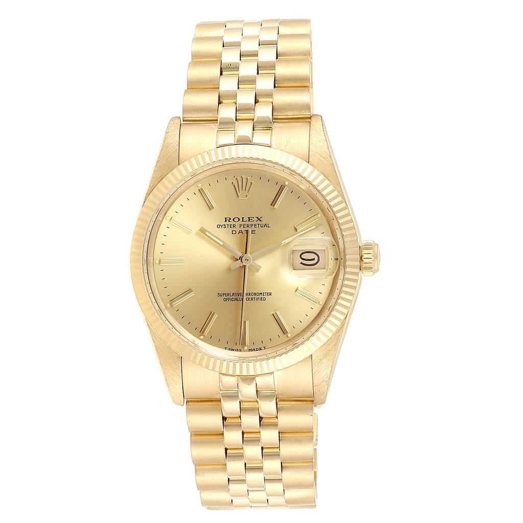Rolex Date Mens 14k Yellow Gold Vintage Mens Watch 15037 SwissWatchExpo