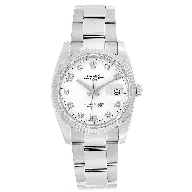 Rolex Date 36 Steel White Gold Diamond Dial Steel Mens Watch 115234 SwissWatchExpo