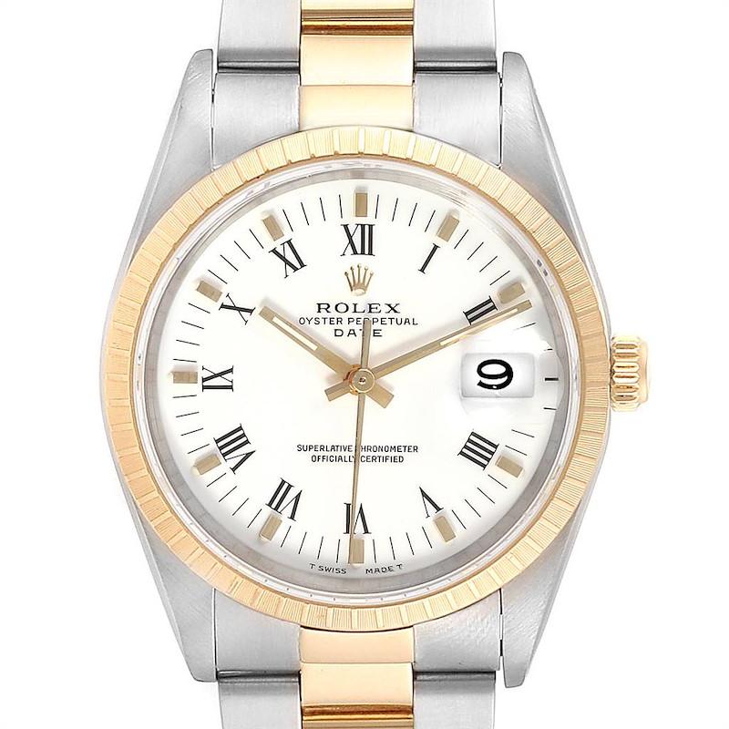 Rolex Date Mens Steel 18k Yellow Gold White Dial Mens Watch 15223 SwissWatchExpo
