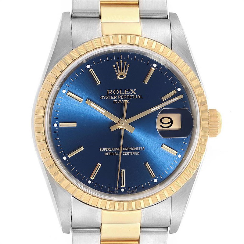 Rolex Mens Steel Yellow Gold Blue Dial Mens Watch 15223 SwissWatchExpo