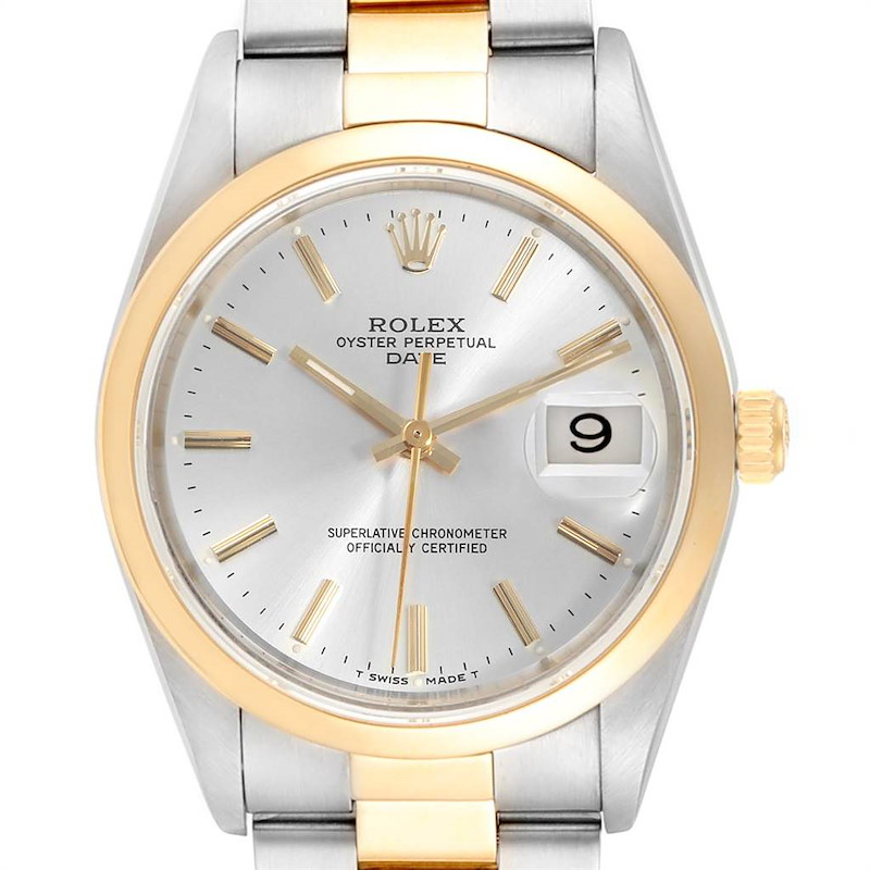 Rolex Date Steel Yellow Gold Silver Dial Mens Watch 15203 Box Papers SwissWatchExpo